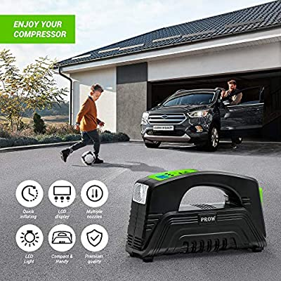 Prow electric Air Compressor Tire Inflator AC/DC Portable for Car – DC 12V, Home – AC 110V, Upscale, with Digital Pressure gauge, Air pump for Car Tires, Motorcycle, Bike, Basketball and More: Home Improvement
