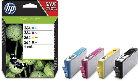 HP N9J73AE 364 Original Ink Cartridges Black, Cyan, Magenta and Yellow, Pack of 4