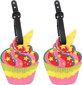 Set of 2 Fun Food Luggage Tags for Travel Suitcase ID Holder - Unicorn Cupcake