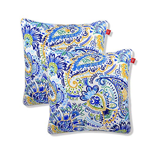 PacifiCasual Set of 2 Patio Indoor/Outdoor All Weather Decorative Throw Pillow Cover Cushion Case for Replacement 18
