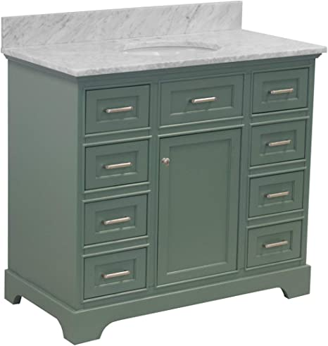 Amazon Com Aria 42 Inch Bathroom Vanity Carrara Sage Green Includes Sage Green Cabinet With Authentic Italian Carrara Marble Countertop And White Ceramic Sink Kitchen Dining