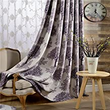 "Leyden 2 Panels Pleated Top Purple Trees Print Curtains Curtain Drapes - 84Wx96""L"