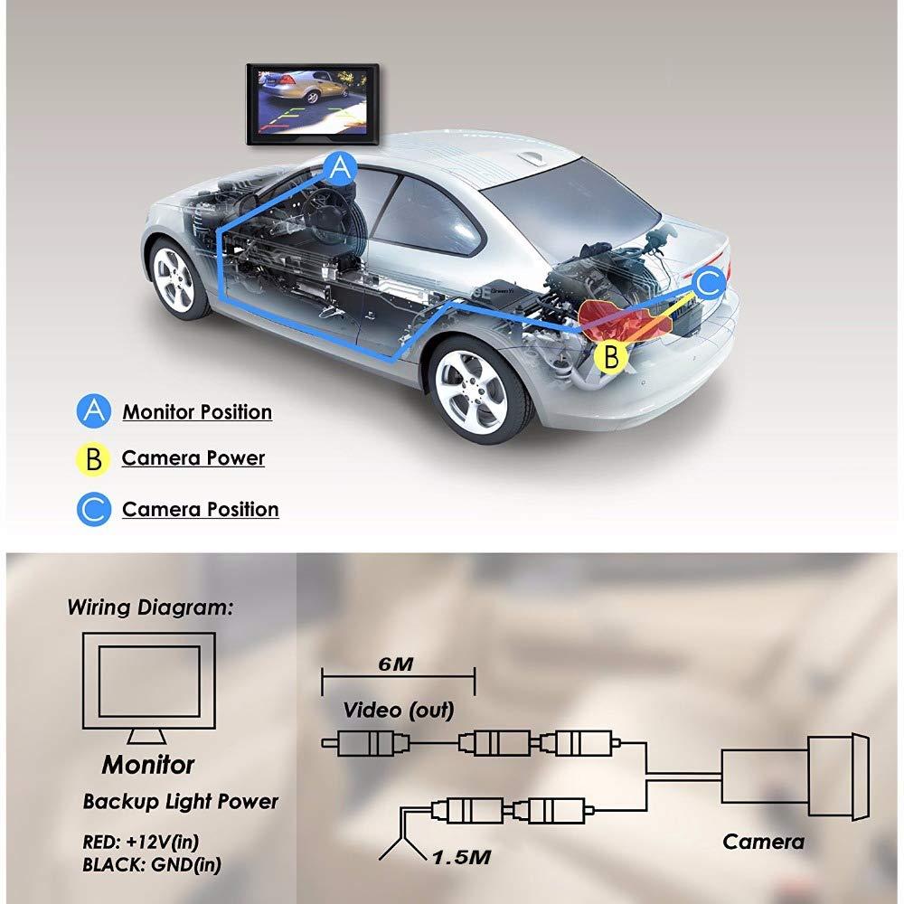 Impermeable C/ámara de Vista Trasera de Respaldo de Marcha Atr/ás SODIAL 2 En 1 Kit de Sistema de Aparcamiento de Coche 4.3 Inchtft LCD Color Vista Trasera Monitor de Pantalla