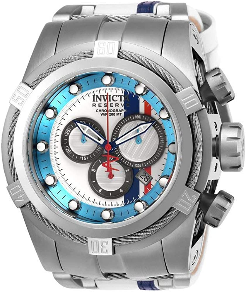 Invicta Men s Reserve Stainless Steel Quartz Watch with Leather-Synthetic Strap, White, 27 Model 26469