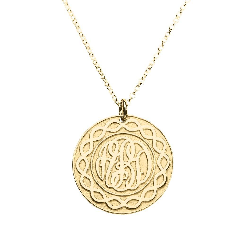 10K Gold Embossed Infinity Stylized Monogram Pendant by JEWLR