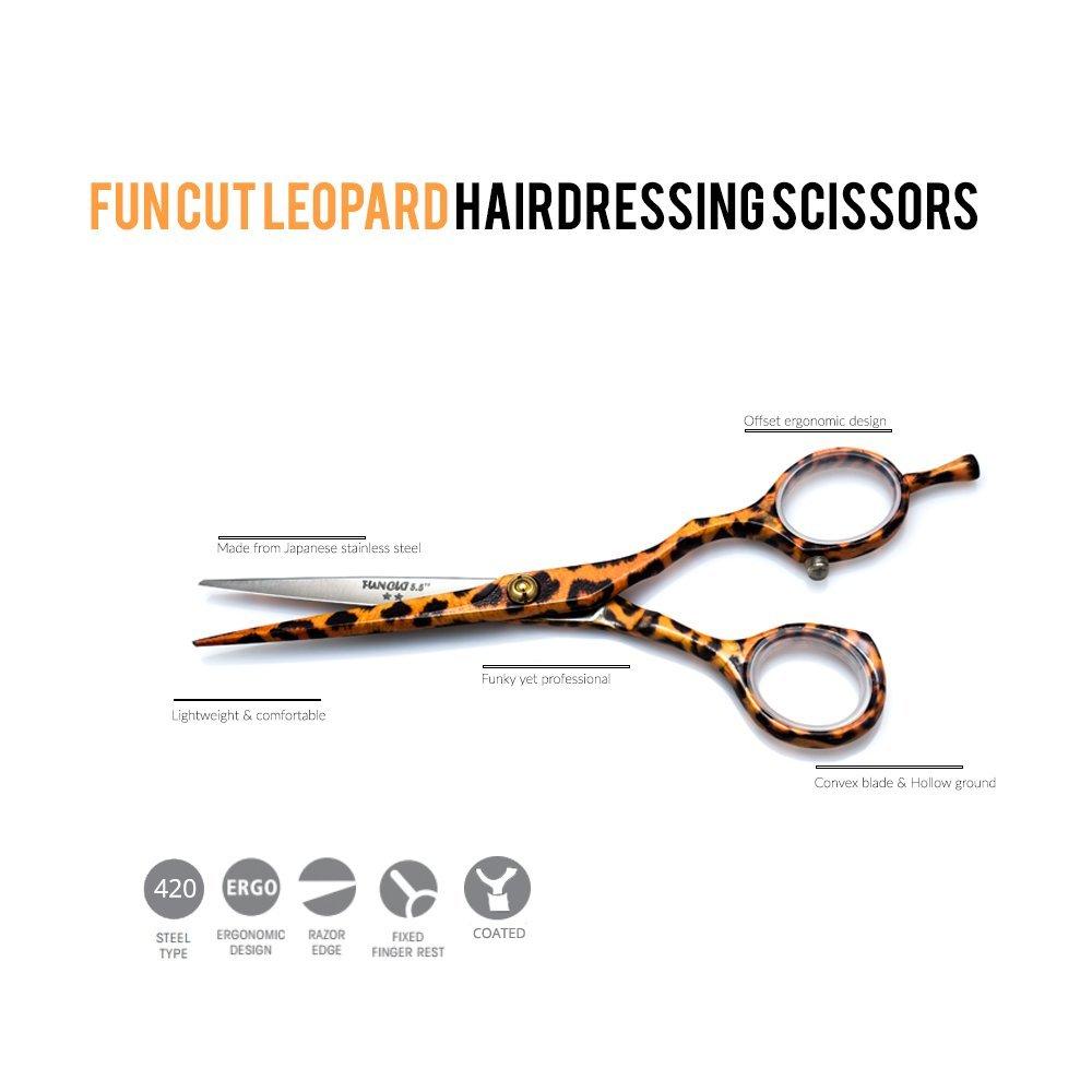 Tijeras de peluquería de acero japonés de leopardo con corte divertido de 14 cm Fun Cut