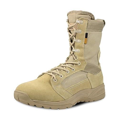 LUDEY Chaussures de Randonnée Hommes Bottes Militaire Patrouille Combat Armée Tactique Recrues Armée Désert Sécurité Militaire Chaussure IDS 831