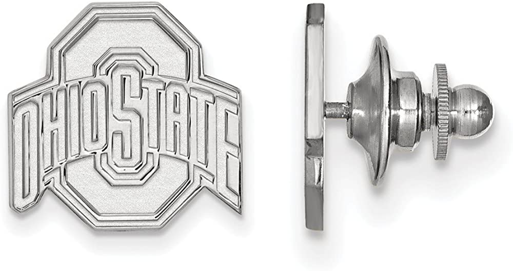 Solid 14k White Gold Ohio State University Lapel Pin 15mm x 15mm