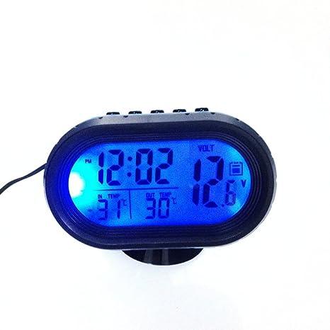 Car LCD Reloj Digital Termómetro Retroiluminación Voltaje Meter Monitor Alarma (Color negro y azul)