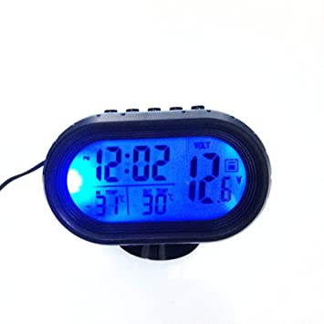 Car LCD Reloj Digital Termómetro Retroiluminación Voltaje Meter Monitor Alarma (Color negro y azul): Amazon.es: Coche y moto