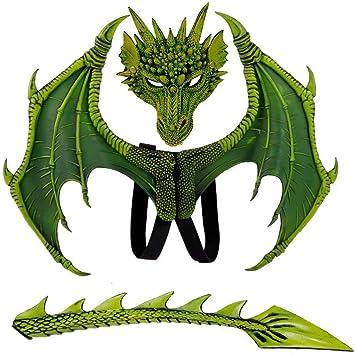 JinYiny Disfraz de alas de dragón para niños Máscaras de ...