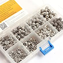 GEM-inside Bali Style Metal Antique Tibetan Silver Spacer Beads Charms Jewelry Findings Jewelry Making DIY Connectors 8Bags Total 400Pcs With Box(MIX)