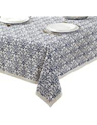 ColorBird Vintage Navy Damask Pattern Decorative Macrame Lace Tablecloth Heavy Weight Cotton Linen Fabric Decorative Table Top Cover (55 Inch x 70 Inch)
