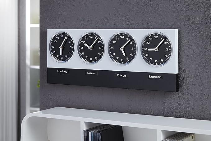 Reloj de pared - Hora mundial - con imanes para diferentes nombres de países: Amazon.es: Hogar