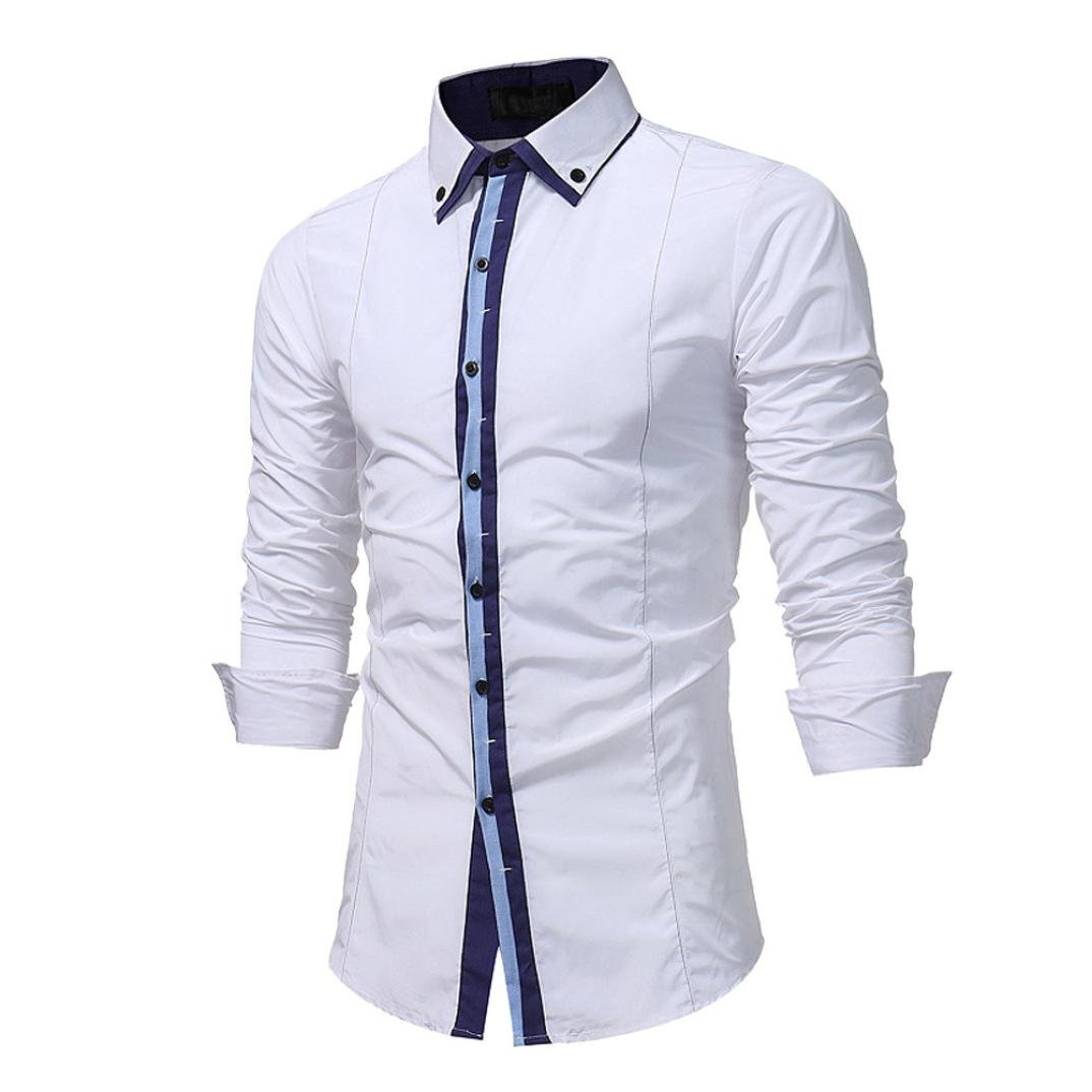 Yvelands Summer Mens Guapo Personalidad de la Moda Panel de Solapa Ocasional Formal Slim-Down Camisa de Manga Larga Camiseta Sport Tees Top Blusa, ...