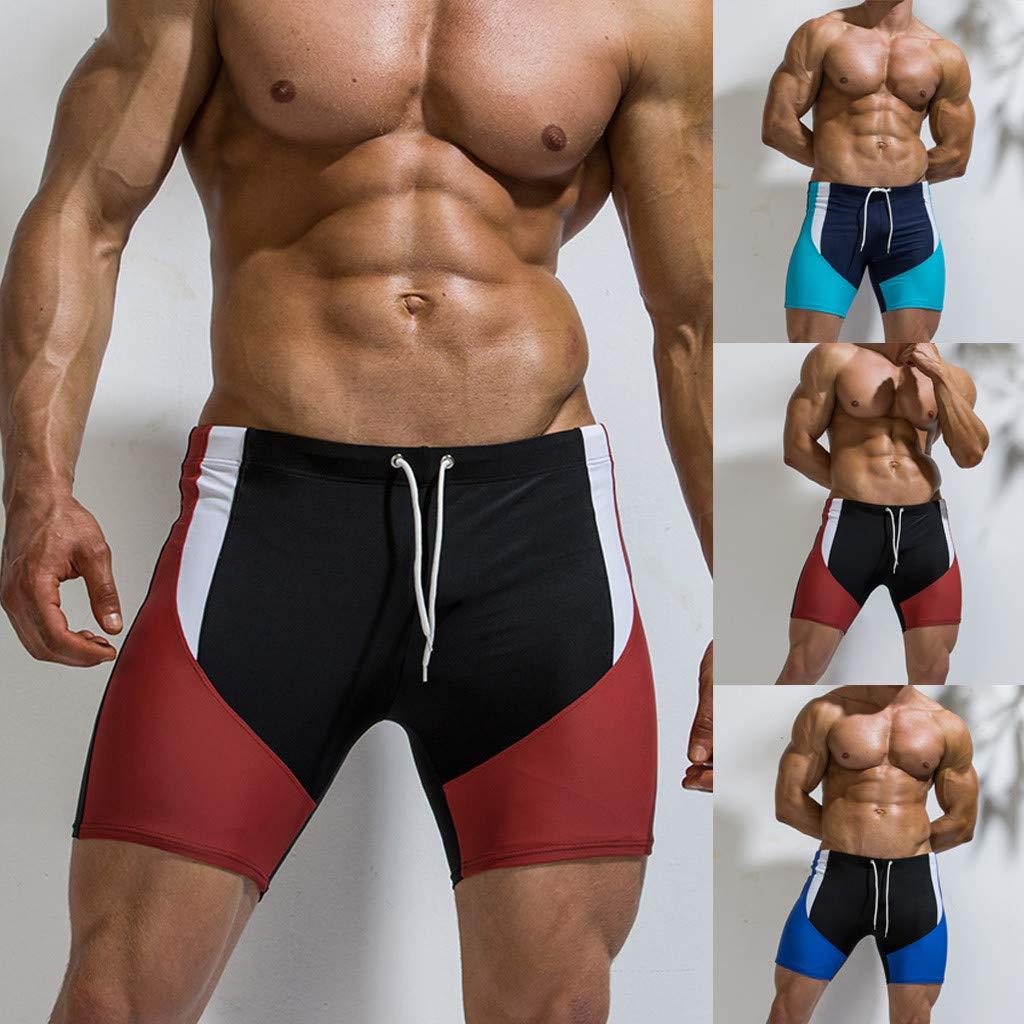 Corriee Mens Beach Swimming Trunks Boxer Brief Swimsuit Nylon Board Shorts Jammers Swimwear