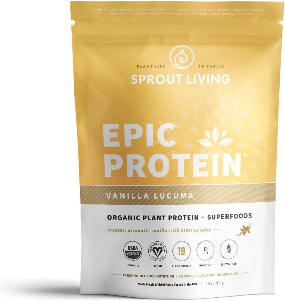 Sprout Living Epic Protein Powder, Vanilla Lucuma Flavor, Organic Plant Protein, Gluten Free, No Additives, 19 Grams Clean Vegan Protein 1 Pound,13 Servings