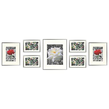 Golden State Art, Metal Wall Photo Frame Collection, Set of 7, Aluminum Silver Photo Frame with Ivory Color Mat & Real Glass