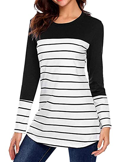 8ff80bda75c2f1 Women's Maternity Striped Nursing Tops Long Sleeve Buttons Back  Breastfeeding T-Shirt Black