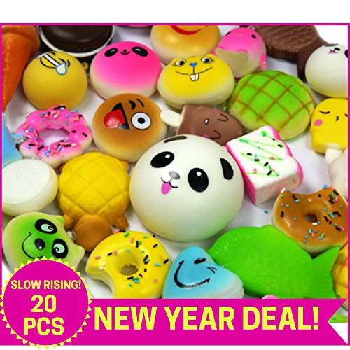 HOLIDAY-DEAL Squishies Set-20 Pack Of Slow Rising Jumbo, Medium & Mini Soft Squishy Panda, Cake, Buns and Donut Toys. Includes Keychain Straps. Best Cream Scented Gift Package For Boys & Girls