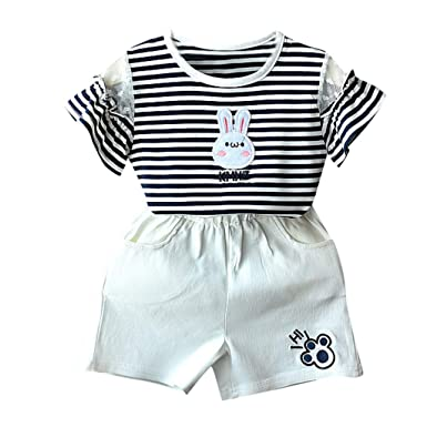 0-4Years,SO-buts Toddler Kids Baby Boys Girls Sumer Fashion Outfits Clothes Print T-Shirt Top+Stripe Shorts Set