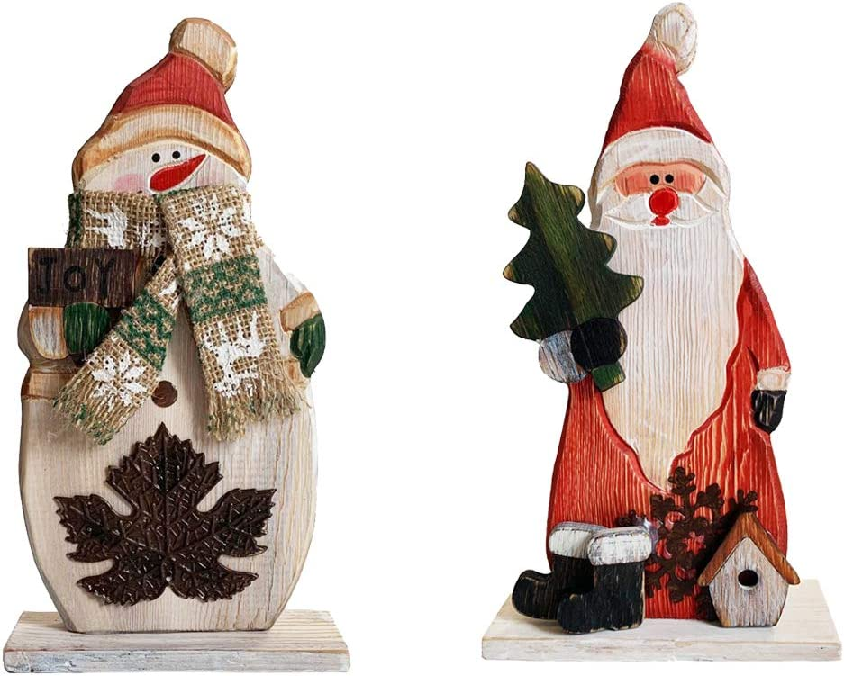 YUMBOR Wood Christmas Snowman Santa Figurines Christmas & Winter Decor 9.75''H, Antique Table Top Mantle Christmas Centerpiece Decoration(Snowman & Santa Claus)
