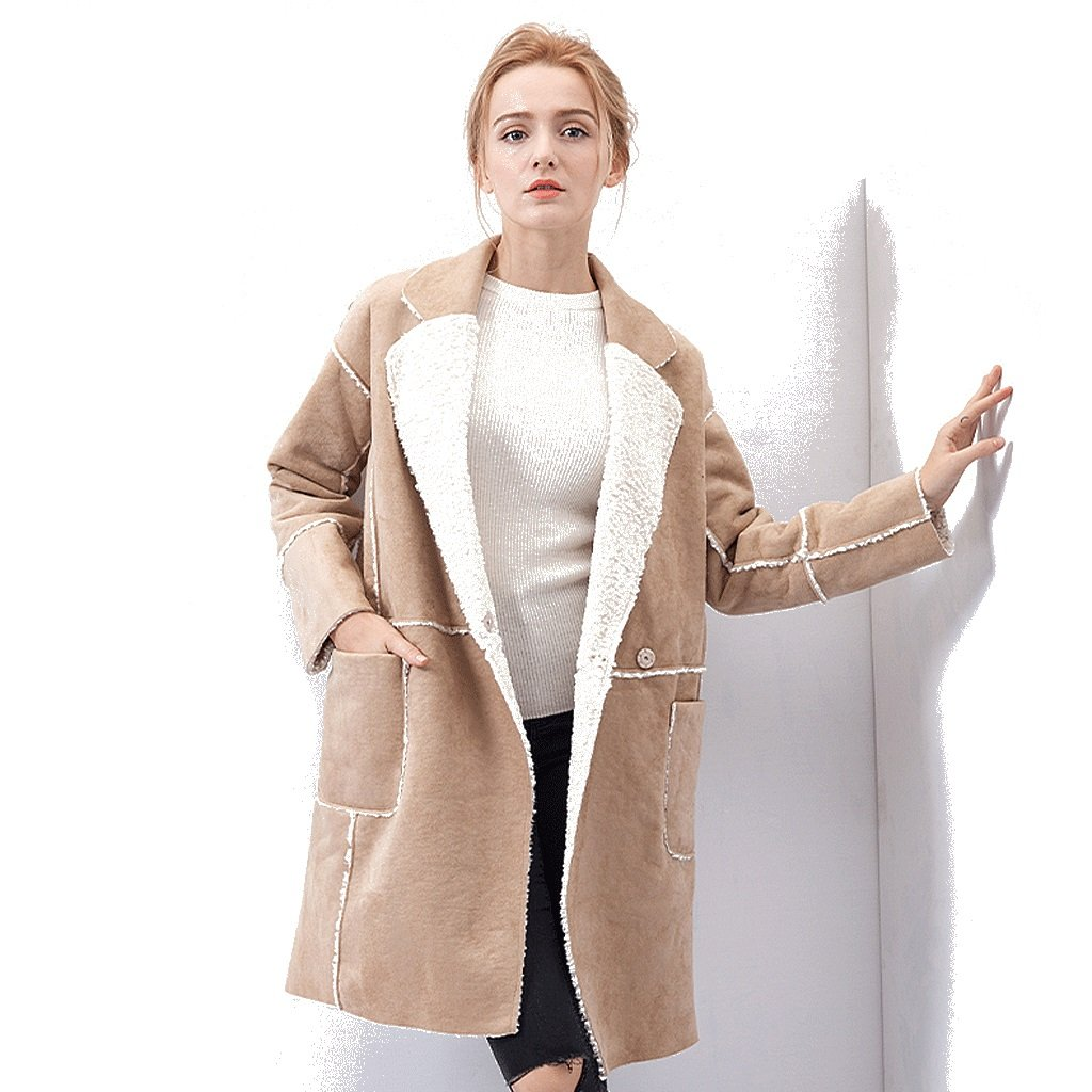 Women's long coat thicking loose cotton clothing (Color : Khaki, Size : One size)