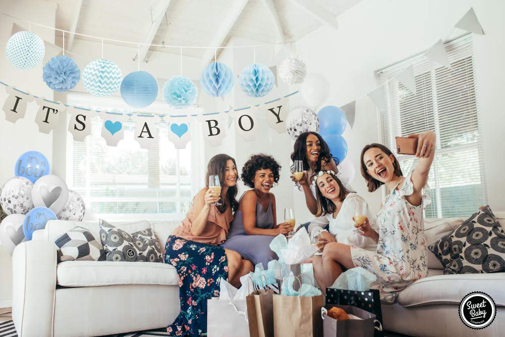 Sweet Baby Co. Baby Shower Decorations For Boy With It's A Boy Banner, Paper Lanterns, Honeycomb Balls, Paper Tissue Pom Poms, Confetti Balloons, Silver Balloon Ribbon (Baby Blue, True Blue, Grey and White)   Baby Shower Decorations Set by Sweet Baby Company (Image #4)