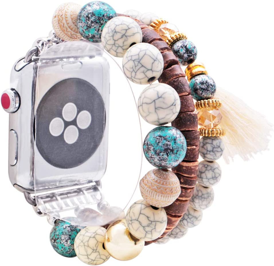 KAI Top Compatible for Apple Watch Band 38mm 40mm 42mm 44mm Series 5 4 3 2 1, Unique Elastic Stretch Bohemian Wood Beaded Bracelet Bands Tassel Elephant Pentant Replacement Strap for Women Girls
