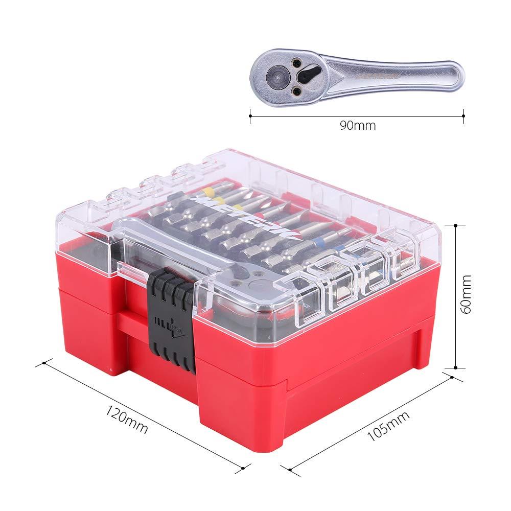Meterk 41 Pcs Mini Ratchet and Bit Set Socket Wrench Screwdriver Set with 1 Socket Wrench 1/4'' Drive, 1 Adapter, 10 Sockets and 29 Screwdriver Bits( 25mm and 50mm), Multipurpose Ratchet Bits Set by Meterk (Image #5)