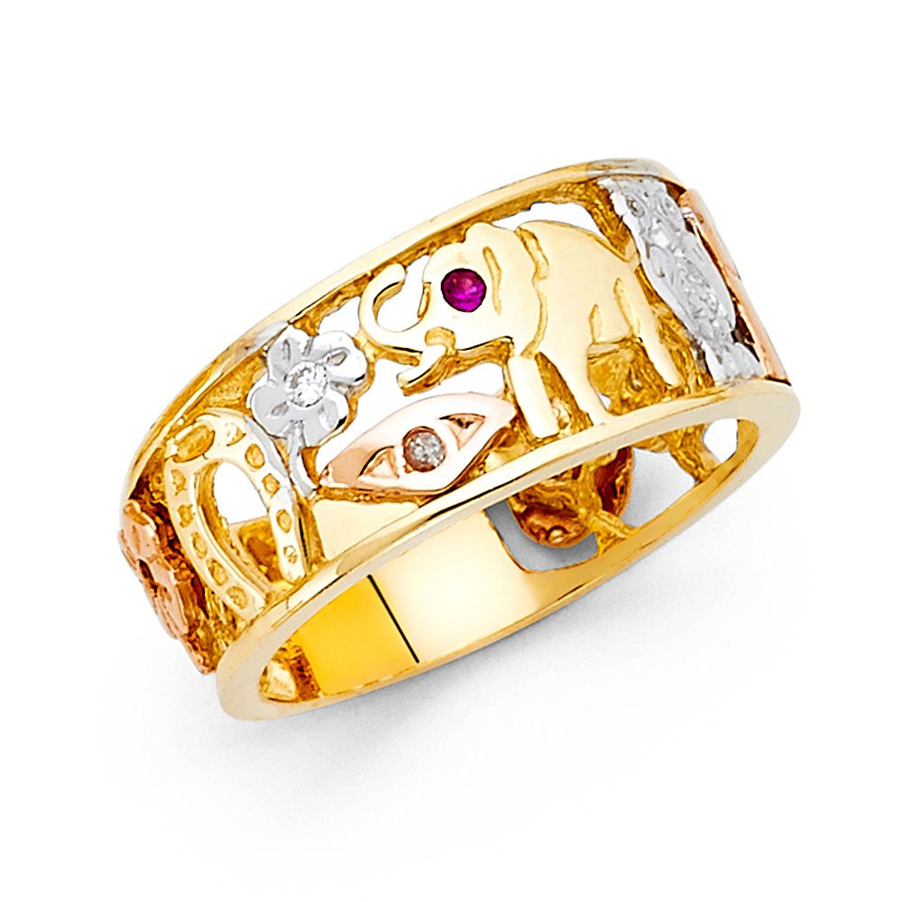 Ioka - 14K Tri Color Solid Gold 10MM Lucky Symbols Men's Ring - Size 13