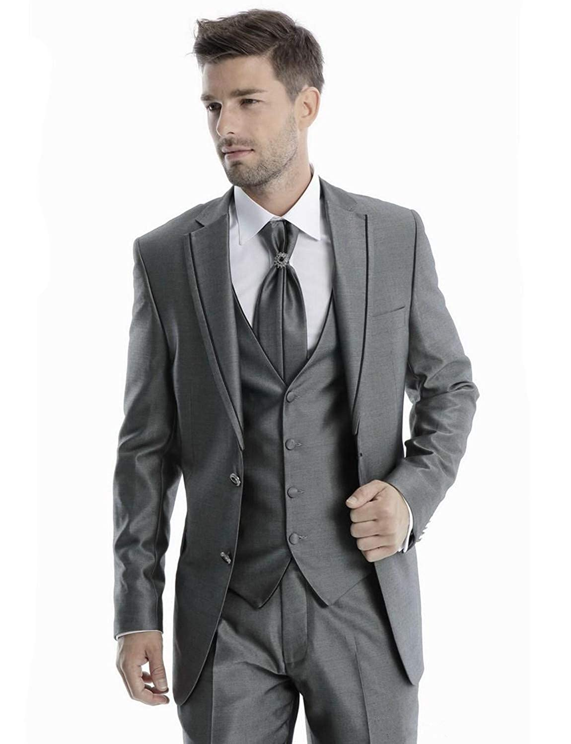 0e137984e56e Mens 3 Piece Tuxedos Vintage Groomsmen Wedding Suit Complete Outfits(Jackets+Vest+Trousers)  at Amazon Men s Clothing store