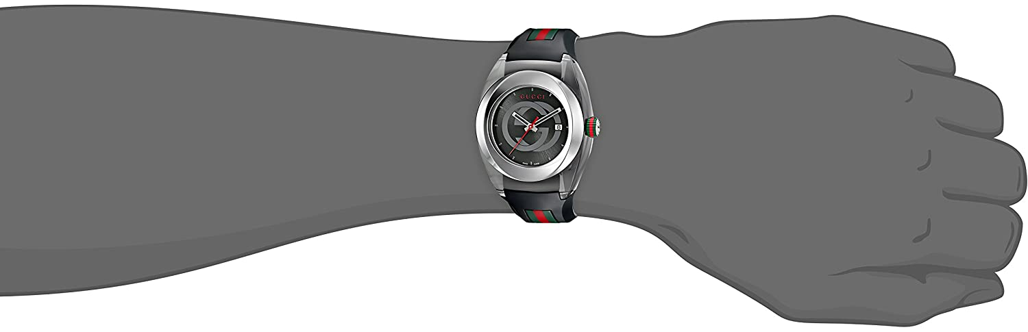 5d44909bdb6 Gucci SYNC XXL YA137101 Stainless Steel Watch with Black Rubber Bracelet   Amazon.ca  Watches