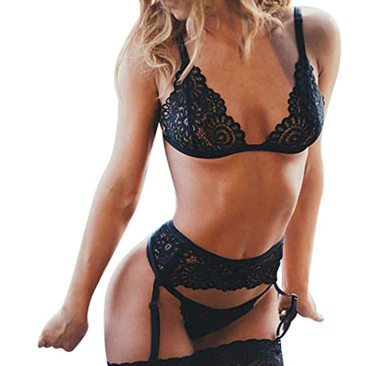 b8f7ad1c9 Ltrotted Fashion Sexy Lingerie Corset Lace Flowers Push up Top Bra+Briefs  Underwear Set at Amazon Women s Clothing store