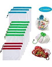 Yompz Sacs Réutilisables en Maille, Réutilisable des Sacs en Filet, l'environnement Lavable en Maille Sacs, Légumes Fruits Jouet étui de Rangement Sacs Shopping Sacs, Trois Tailles 12 Pièces