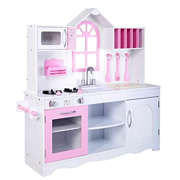 Buy Giantex Kids Wood Kitchen Toy Cooking Pretend Play Set Toddler