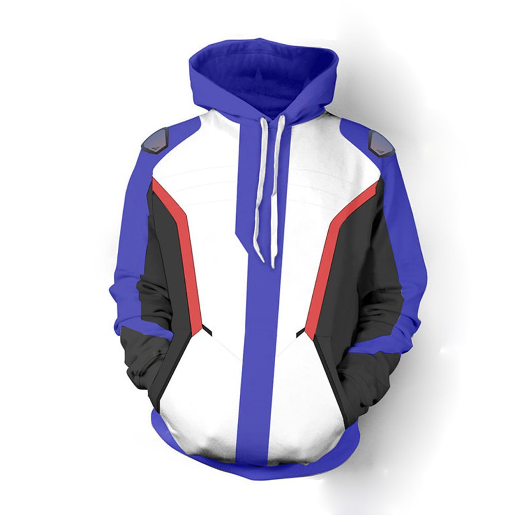 Rulercosplay Overwatch Fashion Hoodie Soldier 76 Blue Hoodie Cosplay Costume (L)