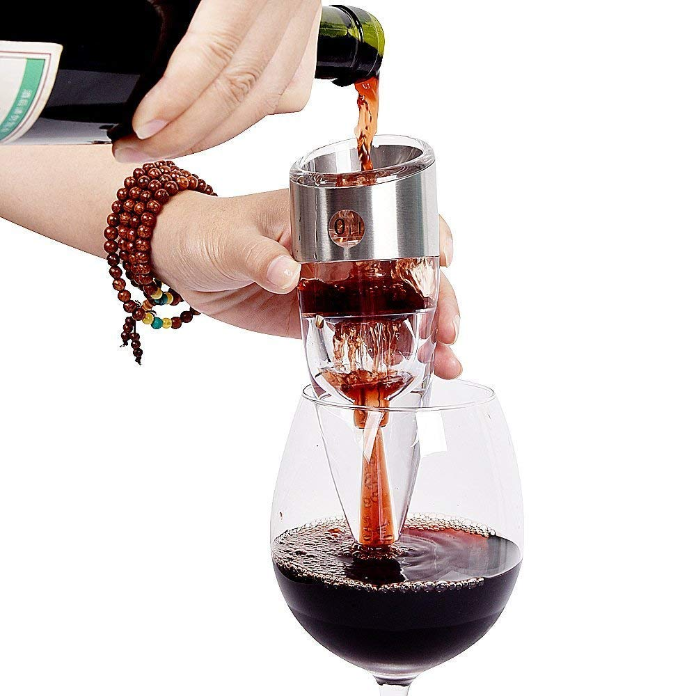 WELLAND Wine Decanter Spout Pourer with Stand, 6 Speeds - Instantly Makes Wine Taste Better - with Gift Box