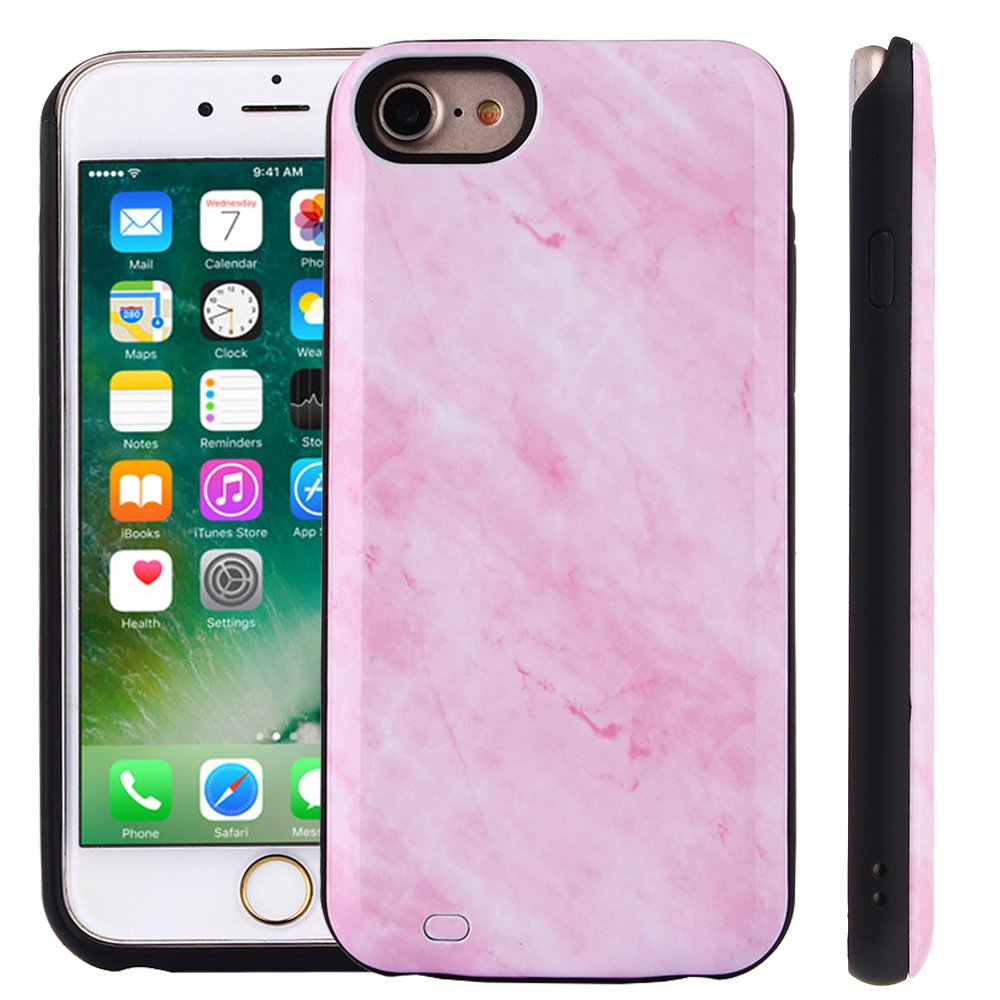 TabPow iPhone 8, iPhone 7, iPhone 6 Battery Case, Marble Series - 3000mAh Ultra Slim Extended Battery Backup Charging Case Charger Pack Power Bank - Pink