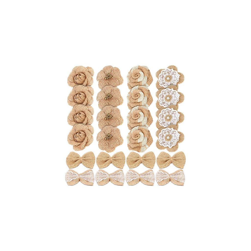 24PCS-Handmade-Natural-Burlap-Flowers-Include-Burlap-Rose-Flowers-Burlap-Lace-Flowers-with-Pearls-Burlap-Hibiscus-Flowers-Burlap-Bowknot-6-Styles-Vintage-Burlap-Rustic-Flowers-for-DIY-Craft