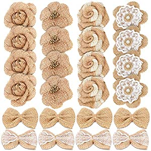 24PCS Handmade Natural Burlap Flowers, Include Burlap Rose Flowers, Burlap Lace Flowers with Pearls, Burlap Hibiscus Flowers, Burlap Bowknot, 6 Styles Vintage Burlap Rustic Flowers for DIY Craft 4
