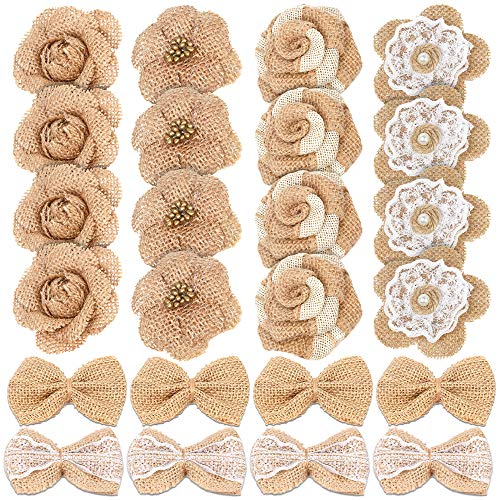 Handmade Christmas Ornament Patterns - 24PCS Handmade Natural Burlap Flowers, Include Burlap Rose Flowers, Burlap Lace Flowers with Pearls, Burlap Hibiscus Flowers, Burlap Bowknot, 6 Styles Vintage Burlap Rustic Flowers for DIY Craft