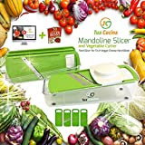 Mandoline Slicer - Vegetable Slicer Best For Potato, Onion & Carrot. Mandolin Food Slicer Works as Cheese Grater, Julienne and Shredder Too. Comes With Food Safety Holder and Container. The Best Idea 4 Your Home Kitchen Tools!