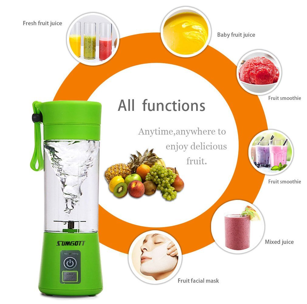 Portable Blender USB Juicer Cup - SUMGOTT Juicer Machine with USB Charger Fruit Mixing Machine Personal Size Rechargeable Juice Blender and Mixer by SUMGOTT (Image #5)