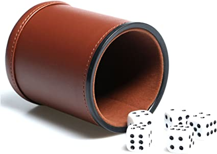 Leather Dice Cup Set Red Felt Lining Quiet Shaker with 6 Dot Dices for Farkle Yahtzee Games,Black