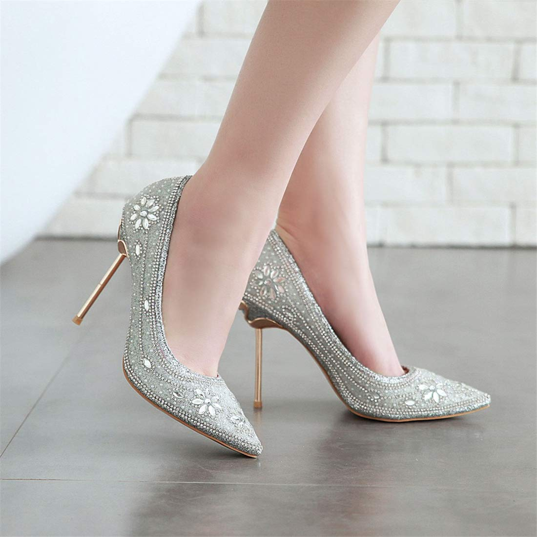 Coolulu Womens Pointed Toe High Heel Slip On Stiletto Pumps Diamante Court Shoes