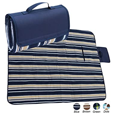 apollo walker Extra Large Picnic Blanket Tote 80 x 60  with Waterproof Backing for Outdoor Picnic Camping(Blue)