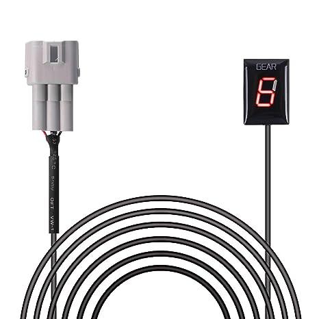 Indicador de Marcha de Motocicleta Impermeable Plug & Play de Pantalla LED (Rojo/Modelo