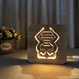 Night Light for Kids Dance Wooden 3D Lamp Creative wooden lights simple decorative lights 3D wood carving pattern LED Night Light for Desk Table with USB Powered Home Decoration Best Gift for Kids