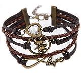 Vintage Bracelet en cuir avec des pendentifs (symbole de l'espoir, oiseau, perle) de DesiDo®